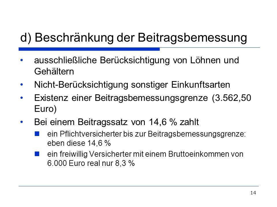 14 d) Beschränkung der Beitragsbemessung ausschließliche Berücksichtigung von Löhnen und Gehältern Nicht-Berücksichtigung sonstiger Einkunftsarten Exi