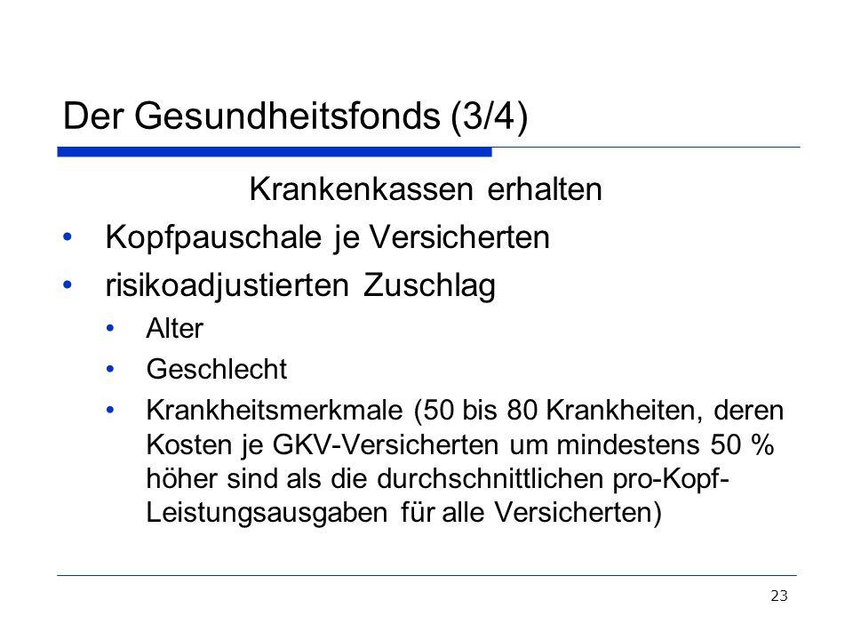 23 Der Gesundheitsfonds (3/4) Krankenkassen erhalten Kopfpauschale je Versicherten risikoadjustierten Zuschlag Alter Geschlecht Krankheitsmerkmale (50