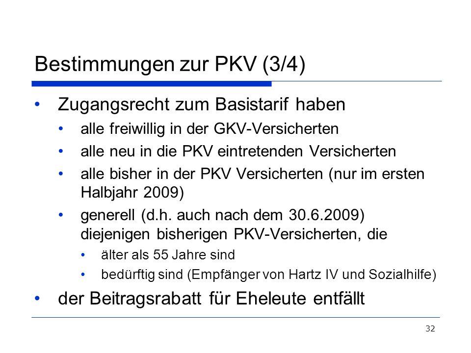 32 Bestimmungen zur PKV (3/4) Zugangsrecht zum Basistarif haben alle freiwillig in der GKV-Versicherten alle neu in die PKV eintretenden Versicherten