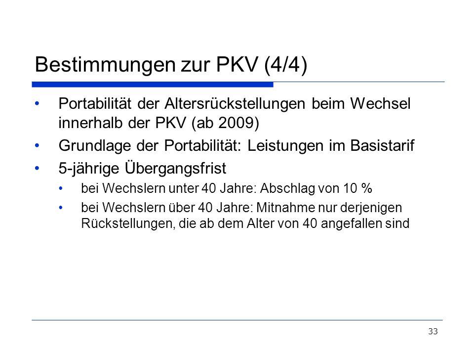 33 Bestimmungen zur PKV (4/4) Portabilität der Altersrückstellungen beim Wechsel innerhalb der PKV (ab 2009) Grundlage der Portabilität: Leistungen im
