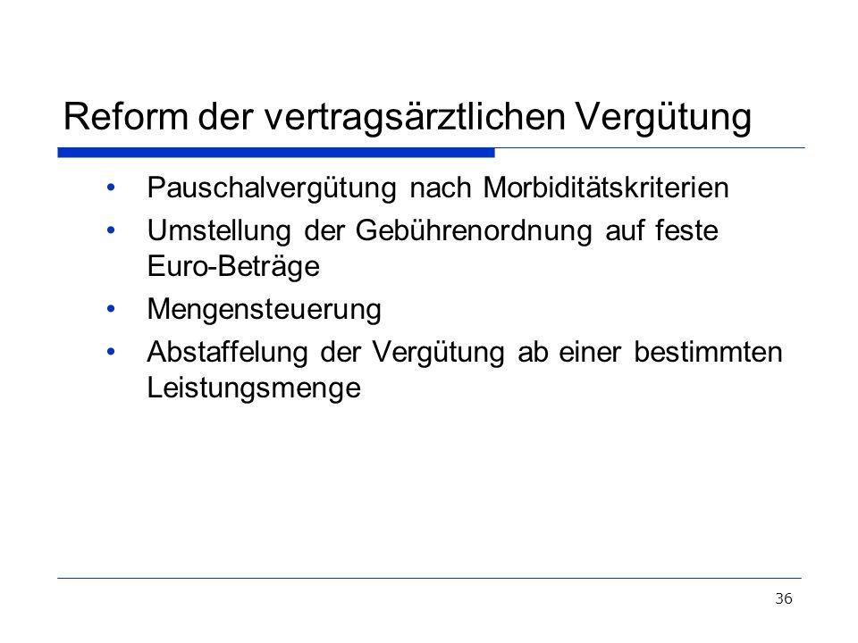 36 Reform der vertragsärztlichen Vergütung Pauschalvergütung nach Morbiditätskriterien Umstellung der Gebührenordnung auf feste Euro-Beträge Mengenste