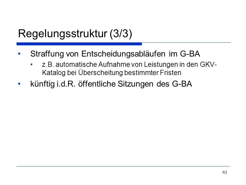 41 Regelungsstruktur (3/3) Straffung von Entscheidungsabläufen im G-BA z.B. automatische Aufnahme von Leistungen in den GKV- Katalog bei Überscheitung