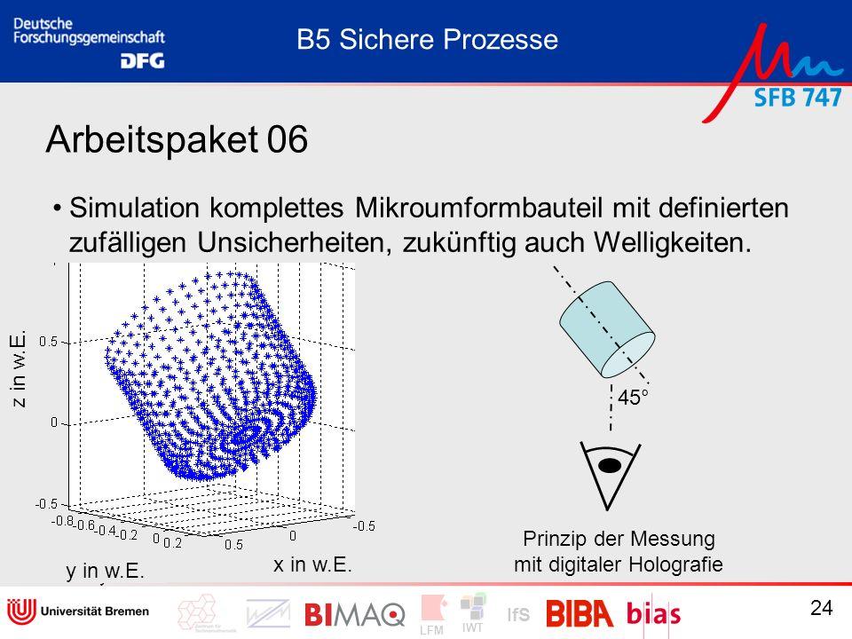 IWT LFM IfS 24 Arbeitspaket 06 Simulation komplettes Mikroumformbauteil mit definierten zufälligen Unsicherheiten, zukünftig auch Welligkeiten. B5 Sic