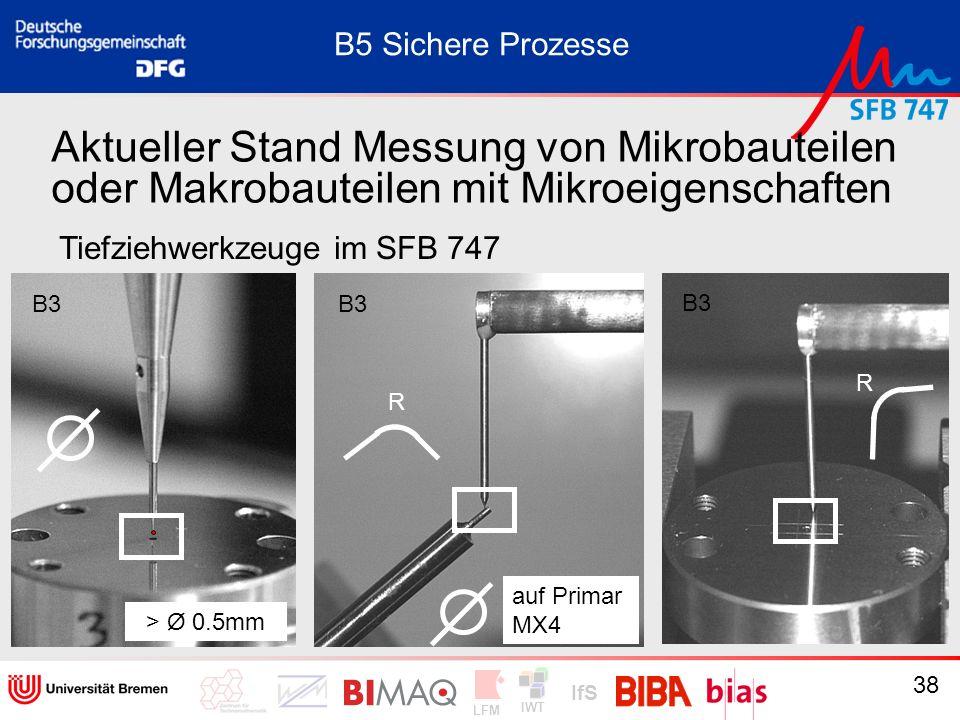 IWT LFM IfS 38 Aktueller Stand Messung von Mikrobauteilen oder Makrobauteilen mit Mikroeigenschaften Tiefziehwerkzeuge im SFB 747 B5 Sichere Prozesse