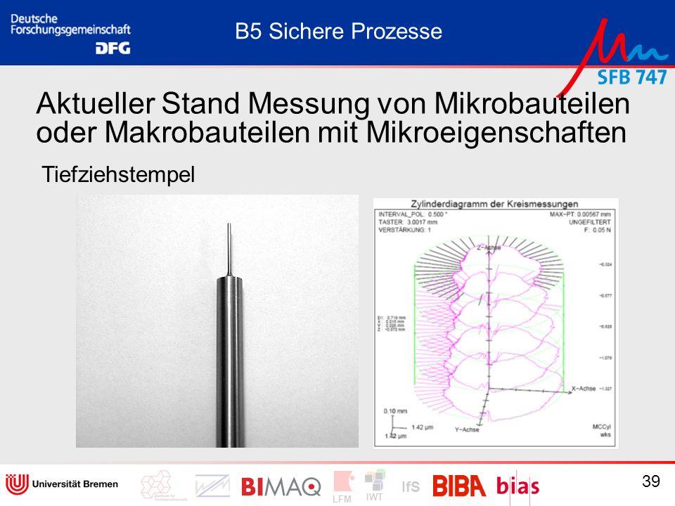 IWT LFM IfS 39 Aktueller Stand Messung von Mikrobauteilen oder Makrobauteilen mit Mikroeigenschaften Tiefziehstempel B5 Sichere Prozesse