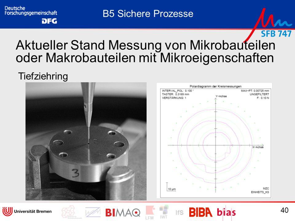 IWT LFM IfS 40 Aktueller Stand Messung von Mikrobauteilen oder Makrobauteilen mit Mikroeigenschaften Tiefziehring B5 Sichere Prozesse
