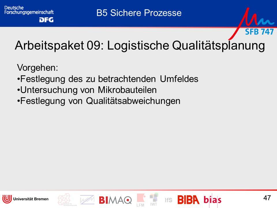 IWT LFM IfS 47 Arbeitspaket 09: Logistische Qualitätsplanung Vorgehen: Festlegung des zu betrachtenden Umfeldes Untersuchung von Mikrobauteilen Festle