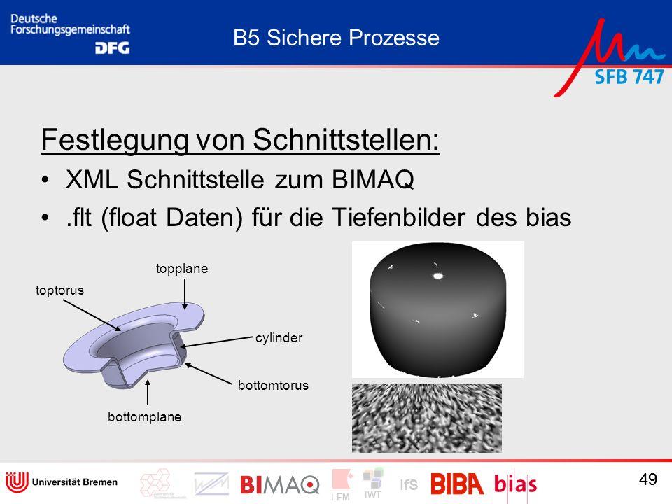 IWT LFM IfS 49 B5 Sichere Prozesse Festlegung von Schnittstellen: XML Schnittstelle zum BIMAQ.flt (float Daten) für die Tiefenbilder des bias 49 botto