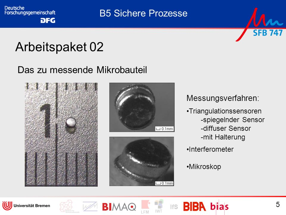 IWT LFM IfS 56 Arbeitspaket 11: Übergeordnete logistikorientierte Qualitätslenkung Vorgehen: Exemplarische Prozesse der Mikrofertigung aufnehmen Identifikation von Schwachstellen bei der Qualitätslenkung B5 Sichere Prozesse