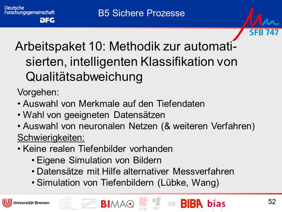 IWT LFM IfS 52 Arbeitspaket 10: Methodik zur automati- sierten, intelligenten Klassifikation von Qualitätsabweichung Vorgehen: Auswahl von Merkmale au