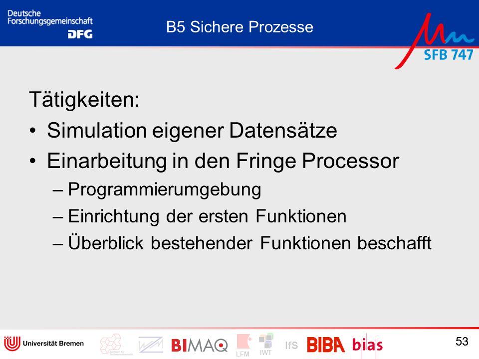 IWT LFM IfS 53 B5 Sichere Prozesse Tätigkeiten: Simulation eigener Datensätze Einarbeitung in den Fringe Processor –Programmierumgebung –Einrichtung d
