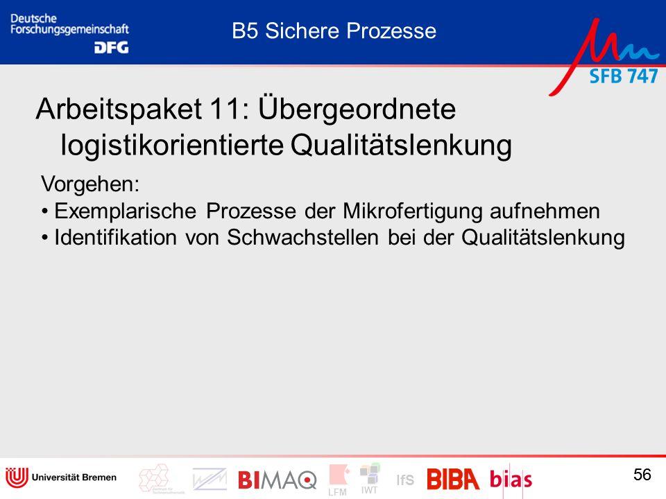 IWT LFM IfS 56 Arbeitspaket 11: Übergeordnete logistikorientierte Qualitätslenkung Vorgehen: Exemplarische Prozesse der Mikrofertigung aufnehmen Ident