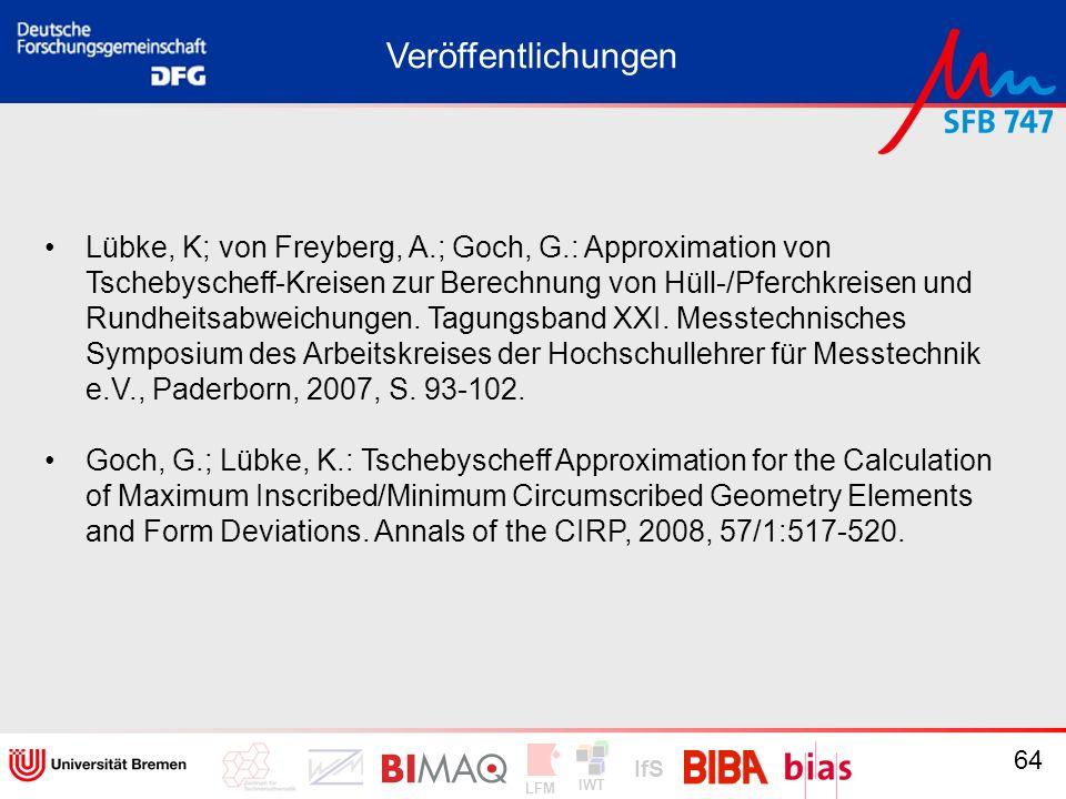 IWT LFM IfS 64 Veröffentlichungen Lübke, K; von Freyberg, A.; Goch, G.: Approximation von Tschebyscheff-Kreisen zur Berechnung von Hüll-/Pferchkreisen