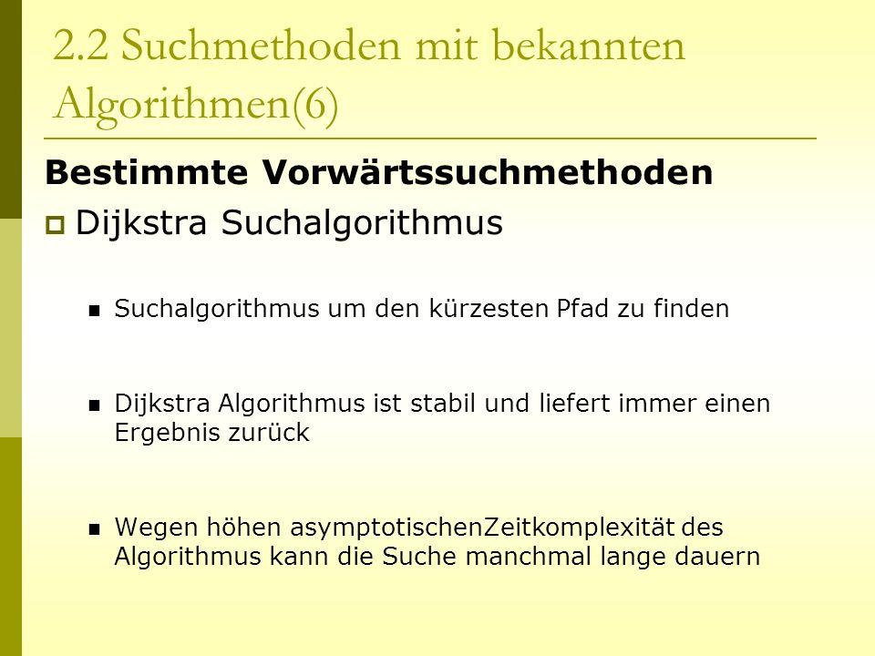 Bestimmte Vorwärtssuchmethoden Dijkstra Suchalgorithmus Suchalgorithmus um den kürzesten Pfad zu finden Dijkstra Algorithmus ist stabil und liefert im