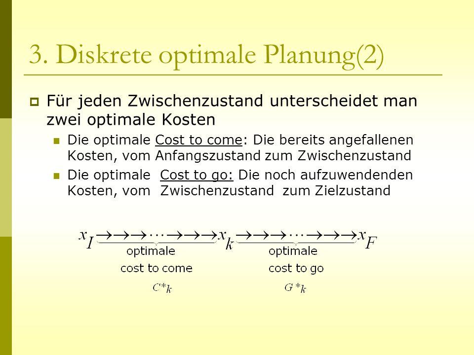 3. Diskrete optimale Planung(2) Für jeden Zwischenzustand unterscheidet man zwei optimale Kosten Die optimale Cost to come: Die bereits angefallenen K
