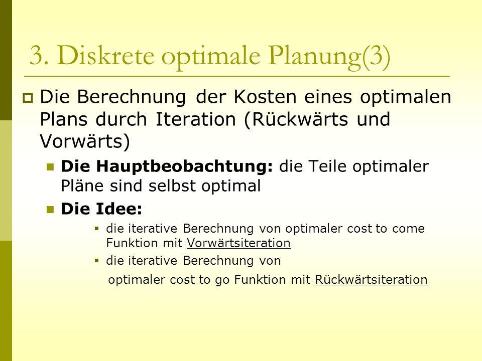3. Diskrete optimale Planung(3) Die Berechnung der Kosten eines optimalen Plans durch Iteration (Rückwärts und Vorwärts) un Die Hauptbeobachtung: die