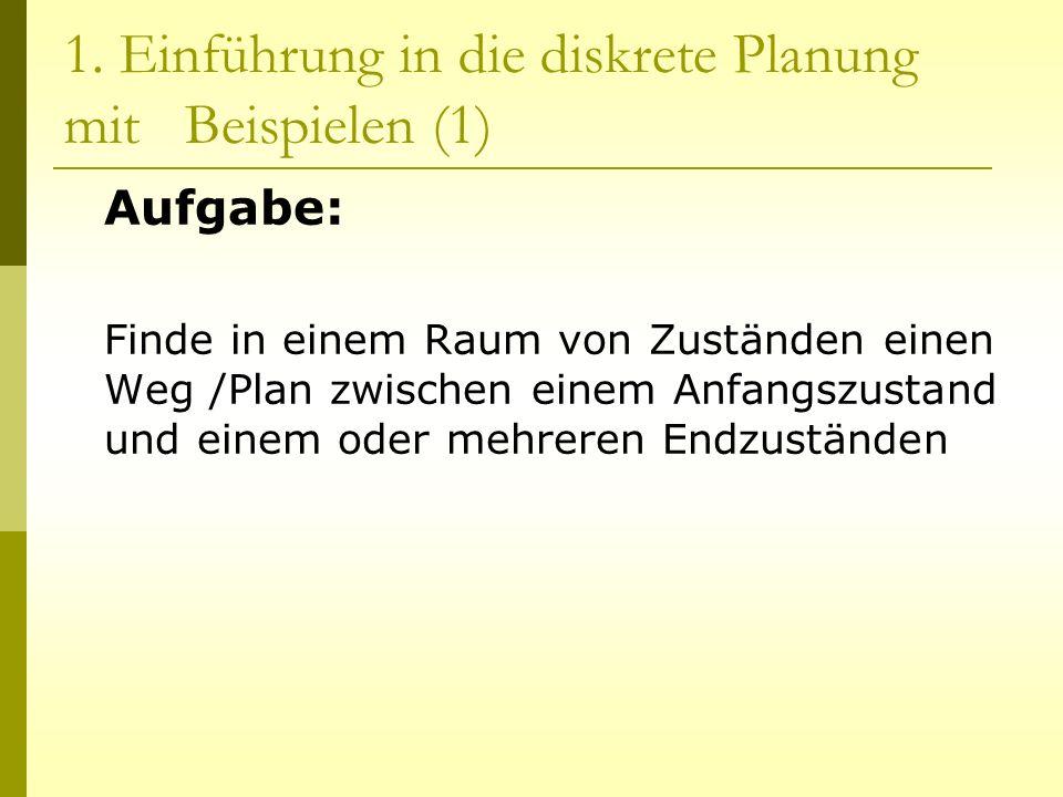 1. Einführung in die diskrete Planung mit Beispielen (1) Aufgabe: Finde in einem Raum von Zuständen einen Weg /Plan zwischen einem Anfangszustand und