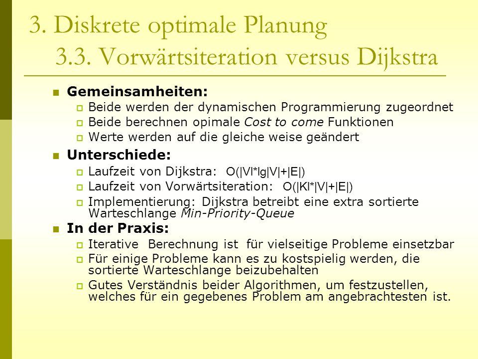 3. Diskrete optimale Planung 3.3. Vorwärtsiteration versus Dijkstra Gemeinsamheiten: Beide werden der dynamischen Programmierung zugeordnet Beide bere