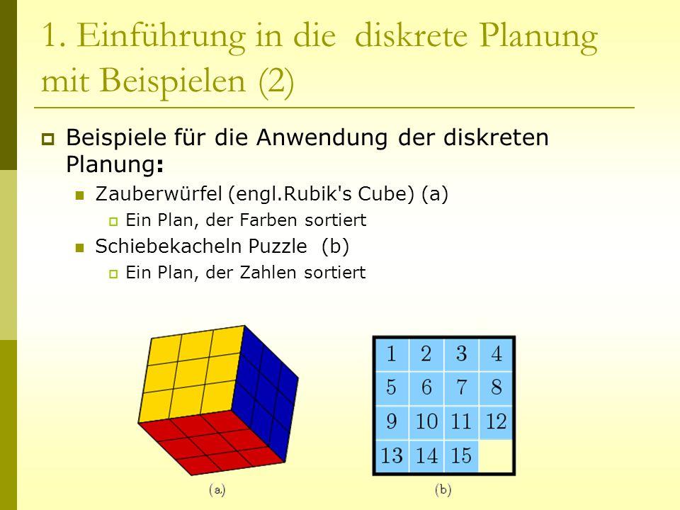 1. Einführung in die diskrete Planung mit Beispielen (2) Beispiele für die Anwendung der diskreten Planung: Zauberwürfel (engl.Rubik's Cube) (a) Ein P