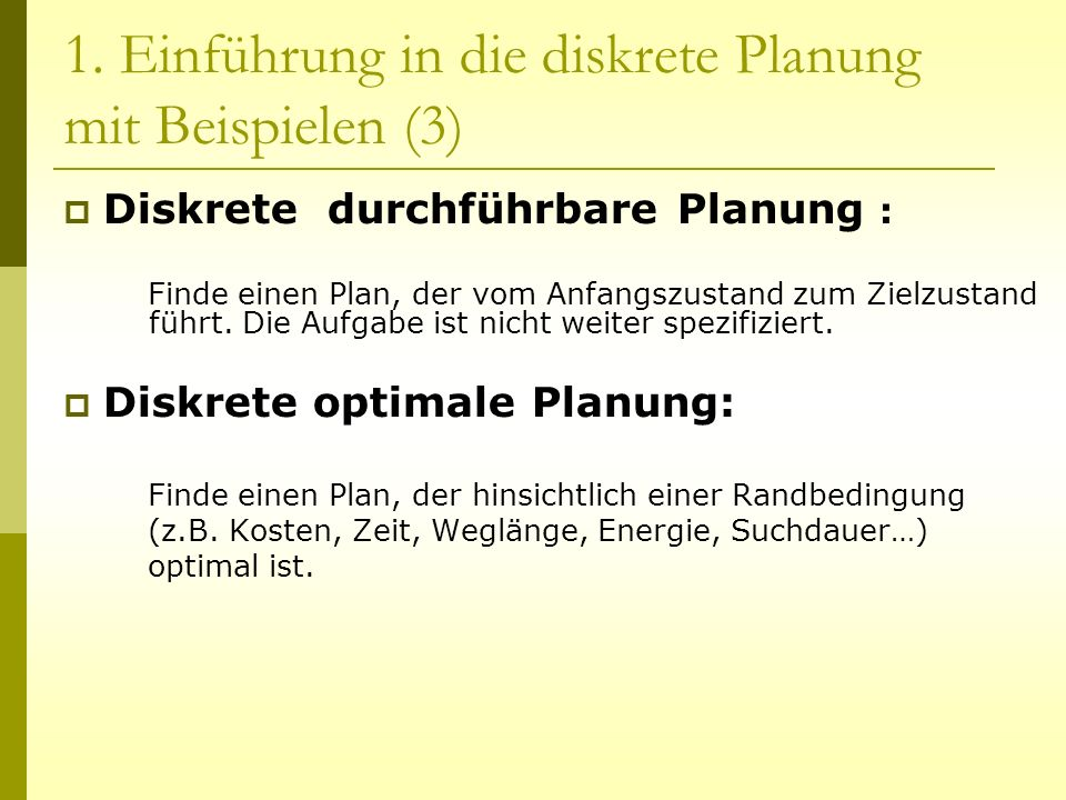3.Diskrete optimale Planung 3.1.
