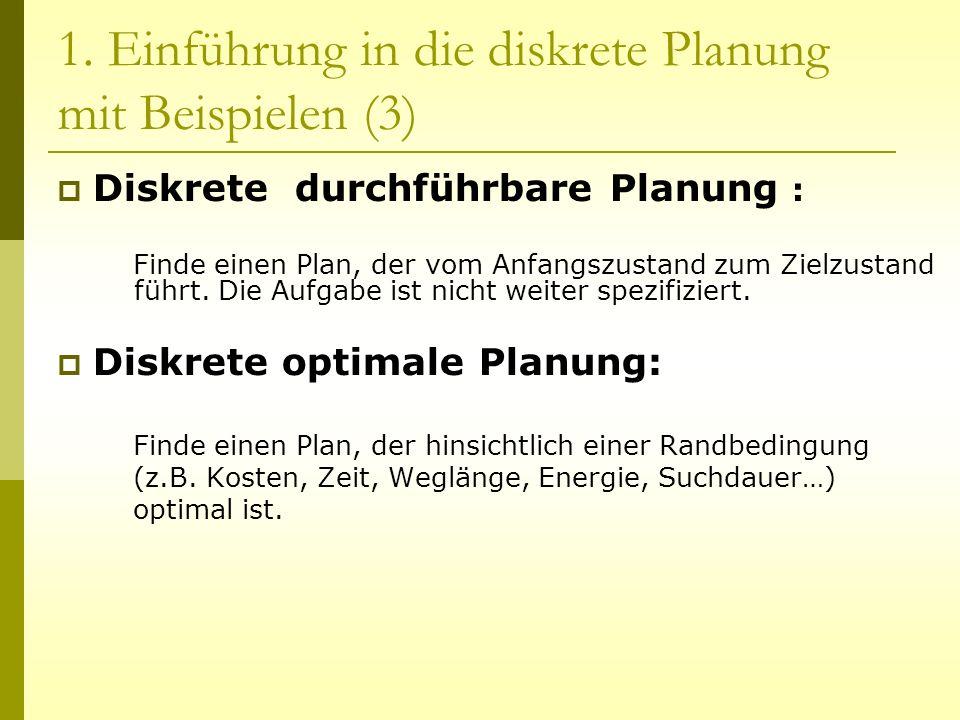 1. Einführung in die diskrete Planung mit Beispielen (3) Diskrete durchführbare Planung : Finde einen Plan, der vom Anfangszustand zum Zielzustand füh