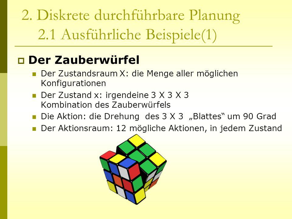 2. Diskrete durchführbare Planung 2.1 Ausführliche Beispiele(1) Der Zauberwürfel Der Zustandsraum X: die Menge aller möglichen Konfigurationen Der Zus