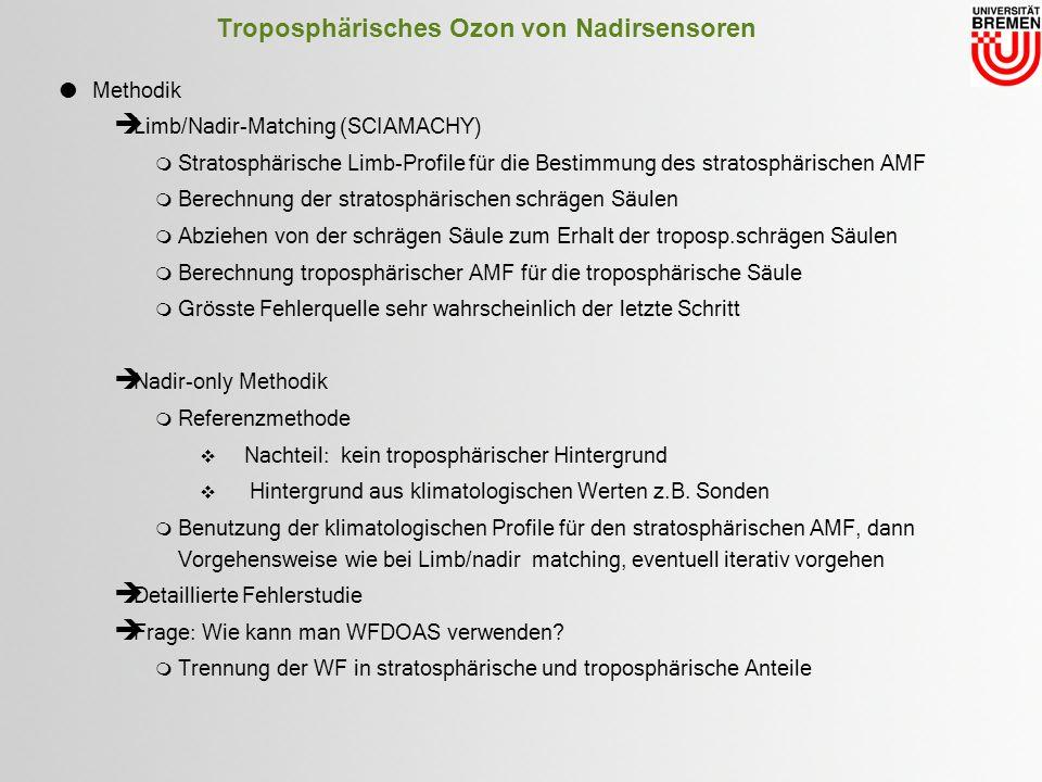 Troposphärisches Ozon von Nadirsensoren Methodik Limb/Nadir-Matching (SCIAMACHY) Stratosphärische Limb-Profile für die Bestimmung des stratosphärischen AMF Berechnung der stratosphärischen schrägen Säulen Abziehen von der schrägen Säule zum Erhalt der troposp.schrägen Säulen Berechnung troposphärischer AMF für die troposphärische Säule Grösste Fehlerquelle sehr wahrscheinlich der letzte Schritt Nadir-only Methodik Referenzmethode Nachteil: kein troposphärischer Hintergrund Hintergrund aus klimatologischen Werten z.B.