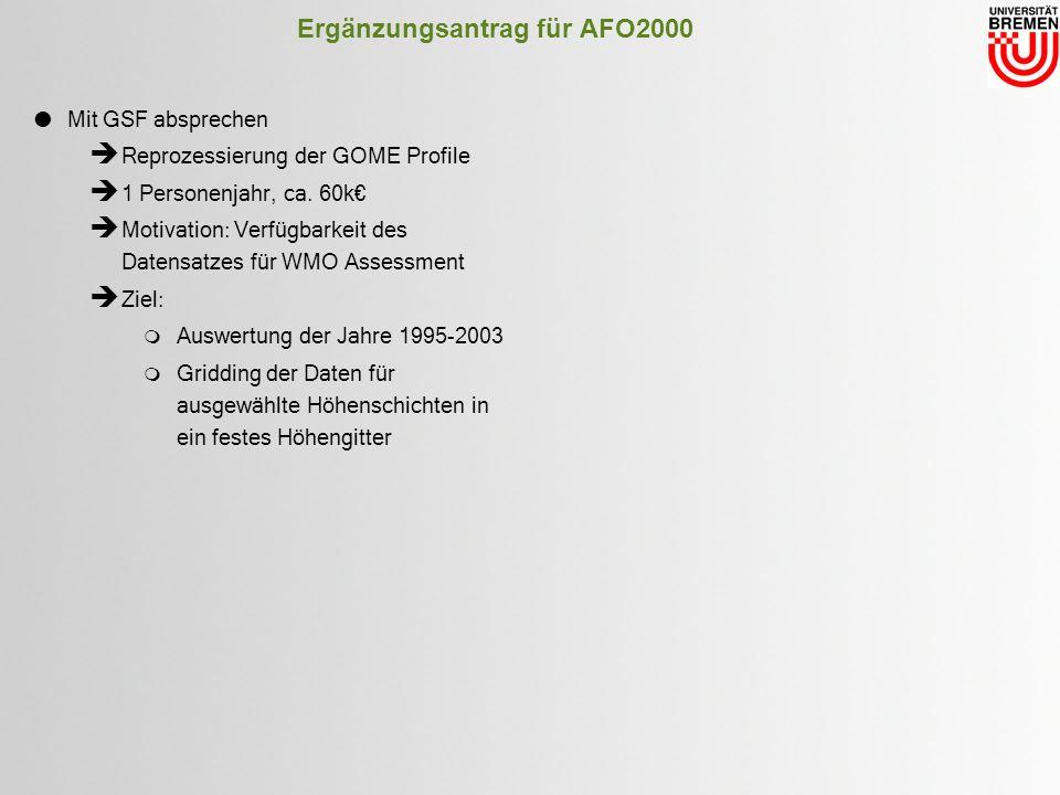 Ergänzungsantrag für AFO2000 Mit GSF absprechen Reprozessierung der GOME Profile 1 Personenjahr, ca.