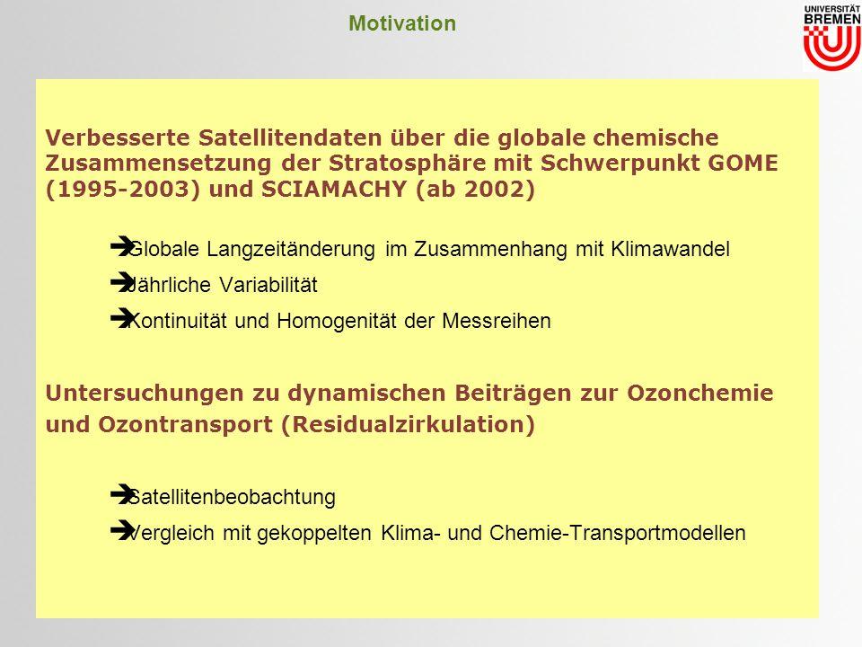 Motivation Verbesserte Satellitendaten über die globale chemische Zusammensetzung der Stratosphäre mit Schwerpunkt GOME (1995-2003) und SCIAMACHY (ab 2002) Globale Langzeitänderung im Zusammenhang mit Klimawandel Jährliche Variabilität Kontinuität und Homogenität der Messreihen Untersuchungen zu dynamischen Beiträgen zur Ozonchemie und Ozontransport (Residualzirkulation) Satellitenbeobachtung Vergleich mit gekoppelten Klima- und Chemie-Transportmodellen