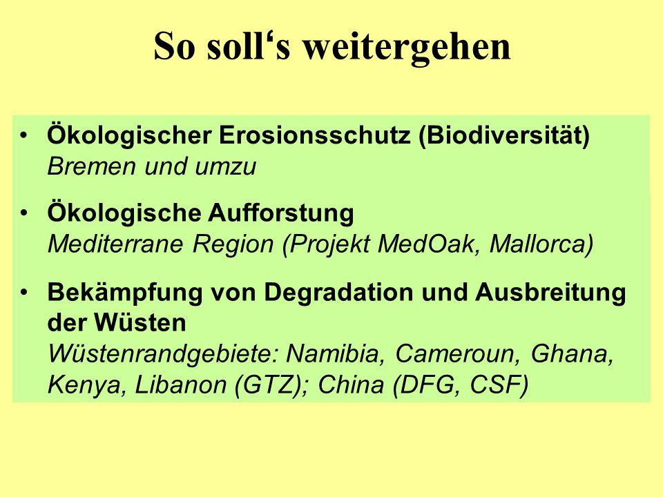 So soll s weitergehen Ökologischer Erosionsschutz (Biodiversität) Bremen und umzu Ökologische Aufforstung Mediterrane Region (Projekt MedOak, Mallorca) Bekämpfung von Degradation und Ausbreitung der Wüsten Wüstenrandgebiete: Namibia, Cameroun, Ghana, Kenya, Libanon (GTZ); China (DFG, CSF)