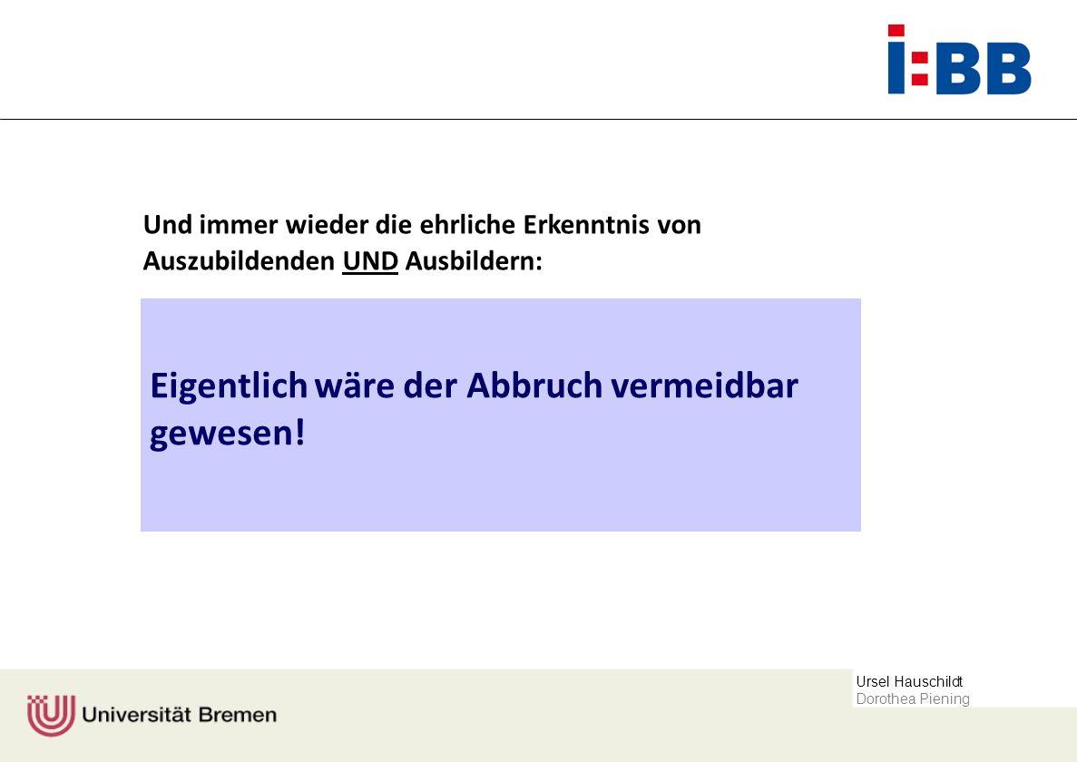 Ursel Hauschildt Dorothea Piening Rahmendaten der Erhebung Fragebogen Allgemeinen Rahmendaten Auswahlverfahren Einschätzungen zu den Ursachen des Abbruchs und potenzielle Maßnahmen seiner Vermeidung (z.T.