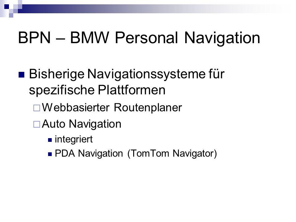 BPN – BMW Personal Navigation Bisherige Navigationssysteme für spezifische Plattformen Webbasierter Routenplaner Auto Navigation integriert PDA Naviga