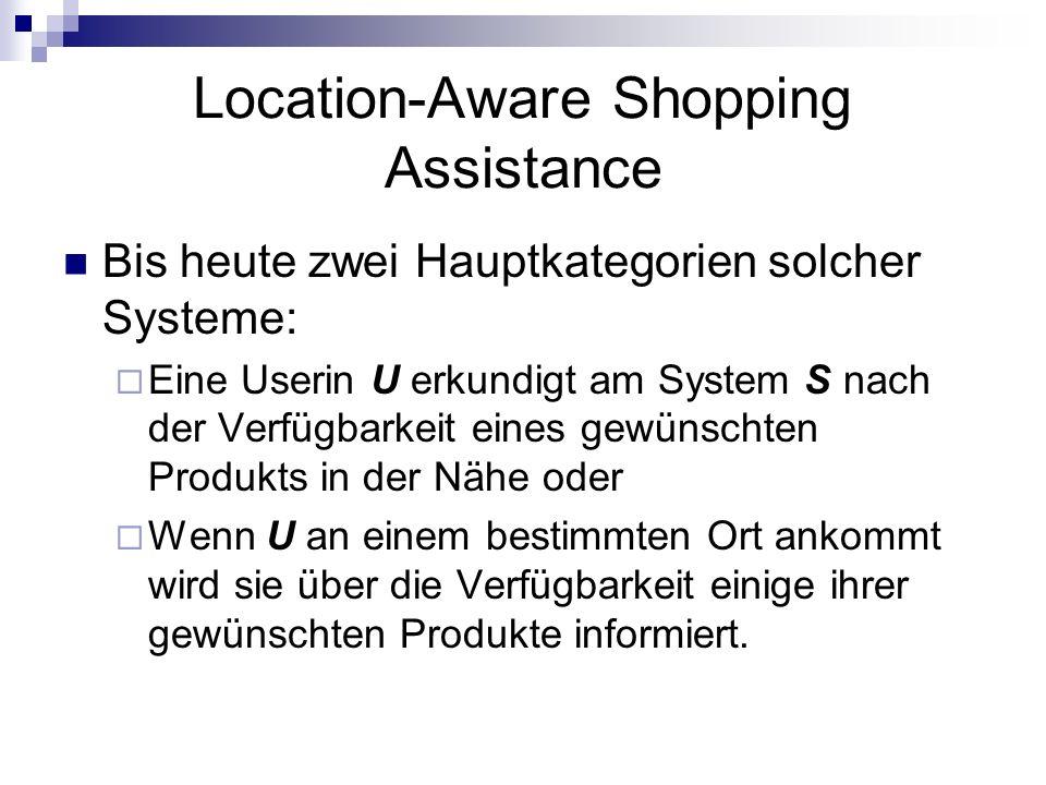 Location-Aware Shopping Assistance Bis heute zwei Hauptkategorien solcher Systeme: Eine Userin U erkundigt am System S nach der Verfügbarkeit eines ge