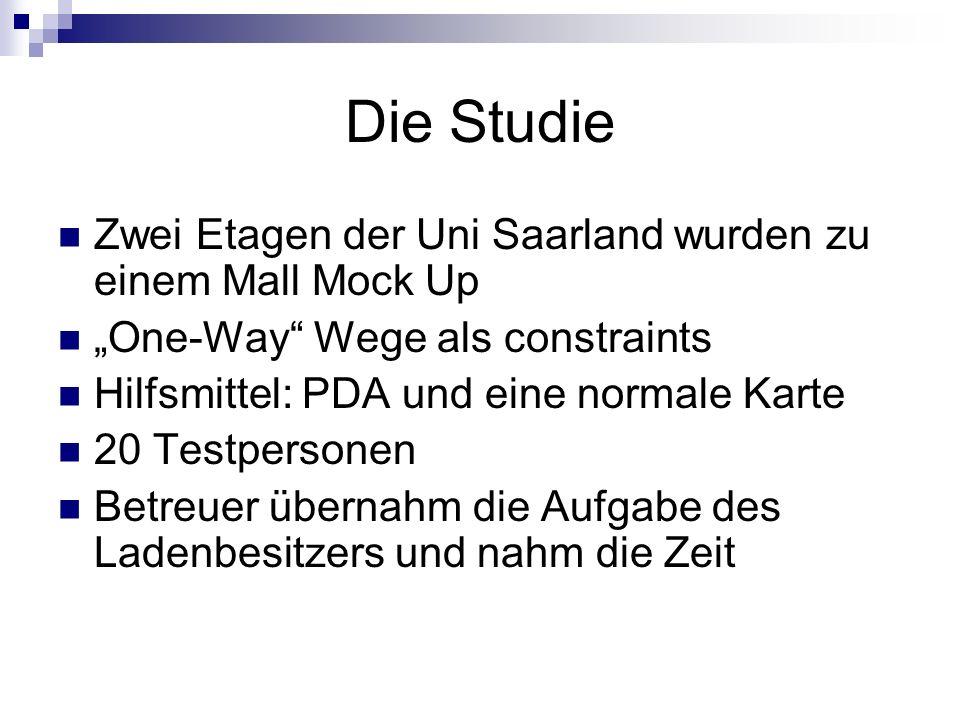 Die Studie Zwei Etagen der Uni Saarland wurden zu einem Mall Mock Up One-Way Wege als constraints Hilfsmittel: PDA und eine normale Karte 20 Testperso