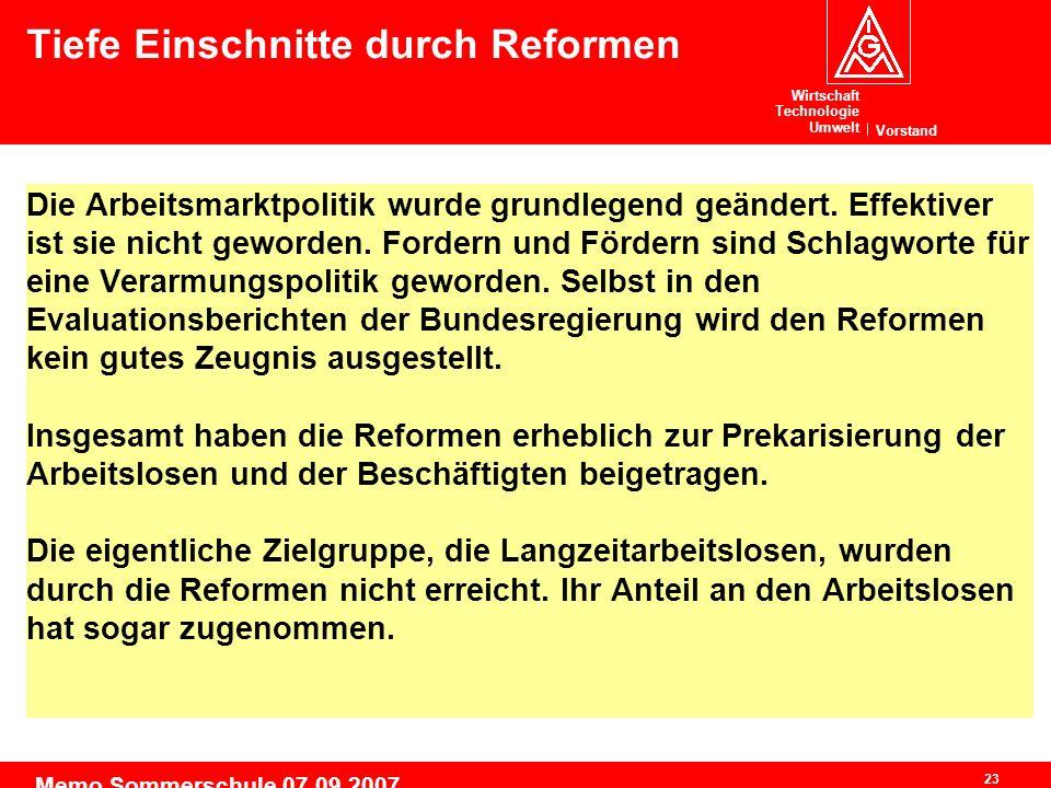 Wirtschaft Technologie Umwelt Vorstand 23 Memo Sommerschule 07.09.2007 Die Arbeitsmarktpolitik wurde grundlegend geändert.