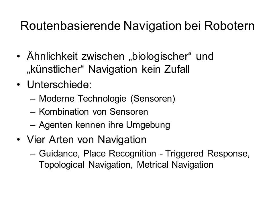Routenbasierende Navigation bei Robotern Ähnlichkeit zwischen biologischer und künstlicher Navigation kein Zufall Unterschiede: –Moderne Technologie (