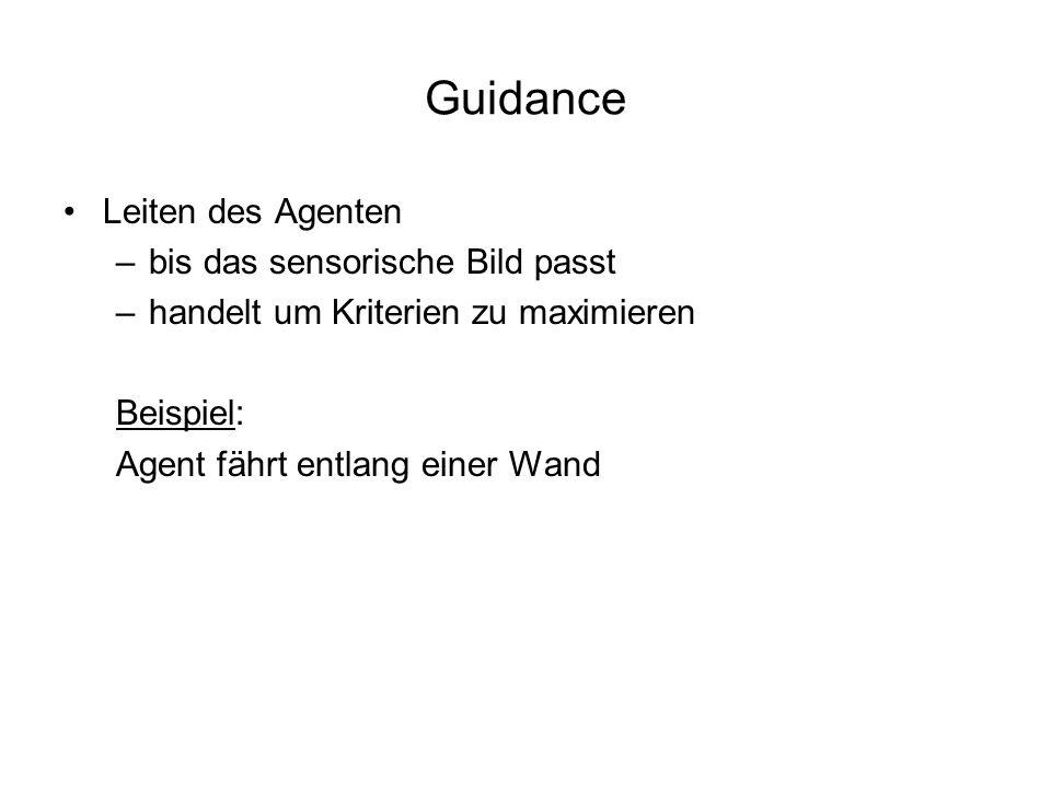 Guidance Leiten des Agenten –bis das sensorische Bild passt –handelt um Kriterien zu maximieren Beispiel: Agent fährt entlang einer Wand