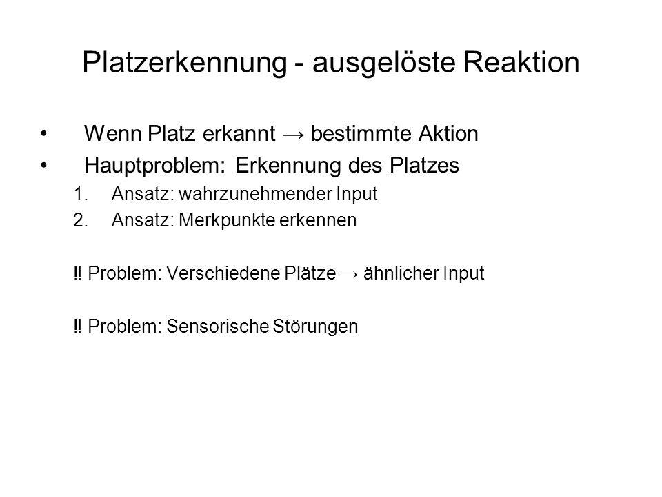 Platzerkennung - ausgelöste Reaktion Wenn Platz erkannt bestimmte Aktion Hauptproblem: Erkennung des Platzes 1.Ansatz: wahrzunehmender Input 2.Ansatz: