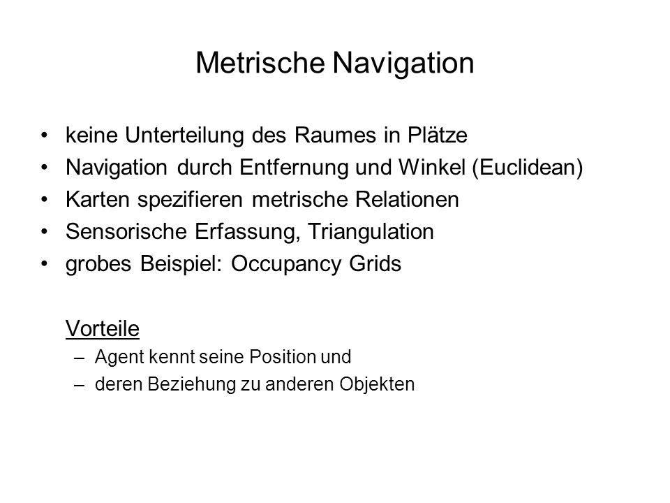 Metrische Navigation keine Unterteilung des Raumes in Plätze Navigation durch Entfernung und Winkel (Euclidean) Karten spezifieren metrische Relatione