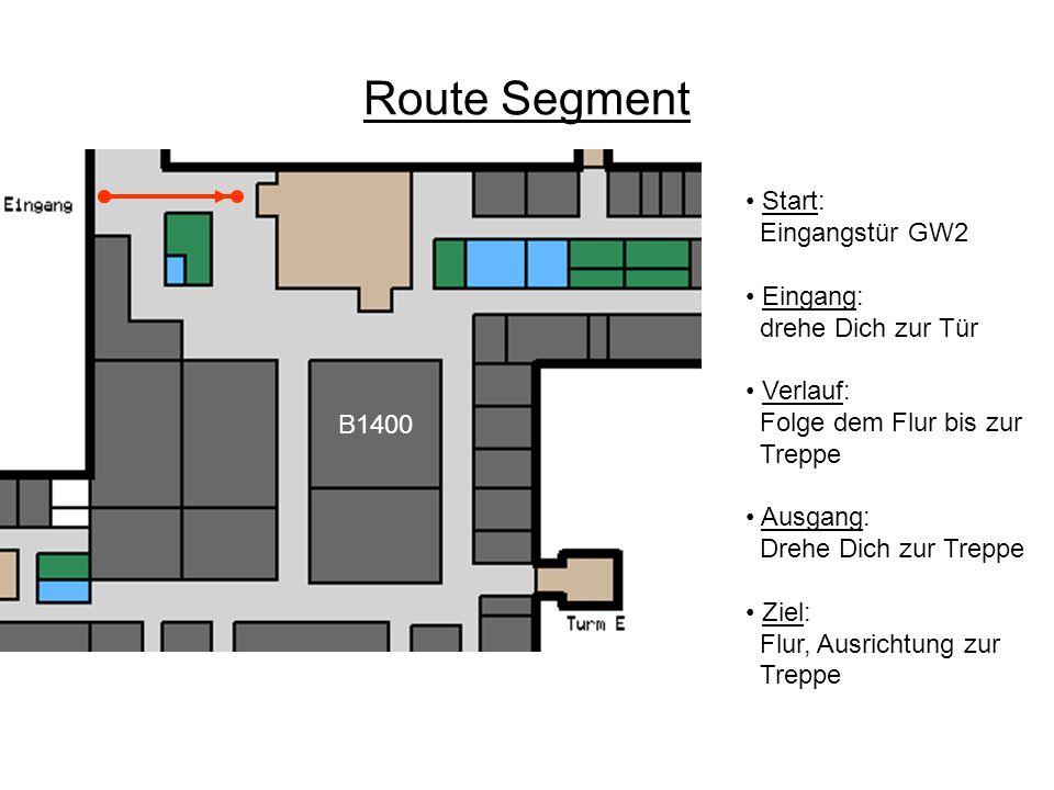 Route Segment Start: Flur, Ausrichtung zur Treppe Eingang: drehe Dich nach rechts Verlauf: Folge dem Flur bis zum nächsten Korridor Ausgang: Drehe Dich zum Flur Ziel: vor dem Korridor, Ausrichtung zum Korridor B1400