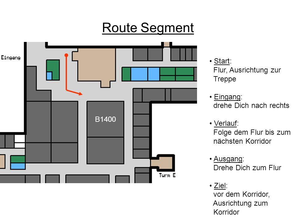 Route Segment Start: Flur, Ausrichtung zur Treppe Eingang: drehe Dich nach rechts Verlauf: Folge dem Flur bis zum nächsten Korridor Ausgang: Drehe Dic