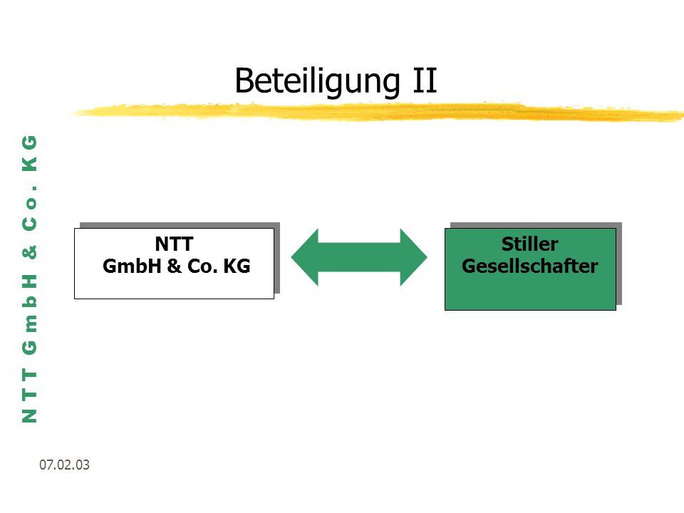 N T T G m b H & C o. K G 07.02.03 Beteiligung II NTT GmbH & Co. KG NTT GmbH & Co. KG Stiller Gesellschafter