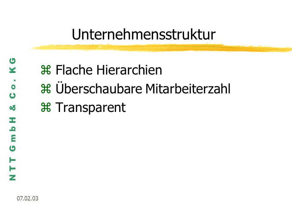 N T T G m b H & C o. K G 07.02.03 Unternehmensstruktur zFlache Hierarchien zÜberschaubare Mitarbeiterzahl zTransparent