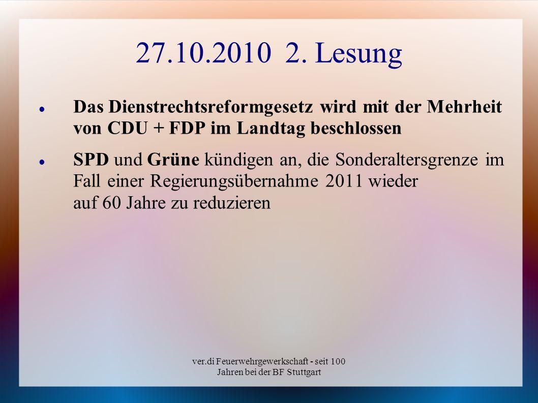 ver.di Feuerwehrgewerkschaft - seit 100 Jahren bei der BF Stuttgart 27.10.2010 2. Lesung Das Dienstrechtsreformgesetz wird mit der Mehrheit von CDU +