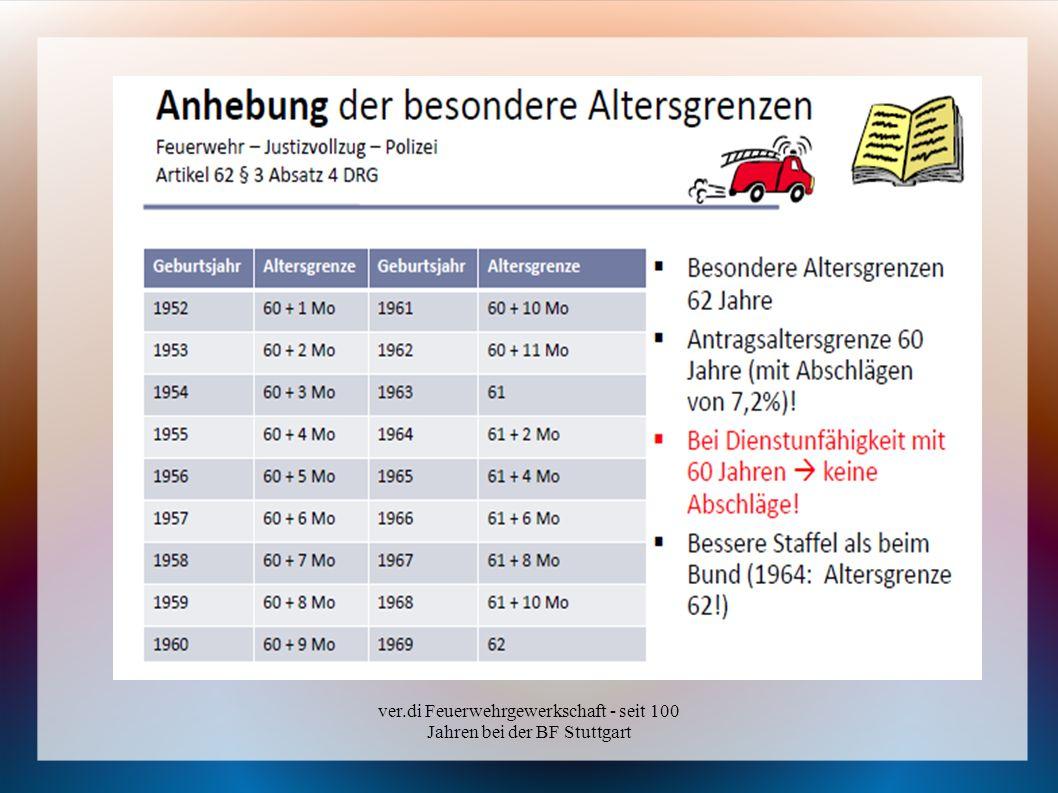 ver.di Feuerwehrgewerkschaft - seit 100 Jahren bei der BF Stuttgart Was gilt ab 01.01.2011