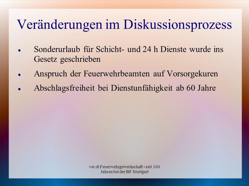 ver.di Feuerwehrgewerkschaft - seit 100 Jahren bei der BF Stuttgart Veränderungen im Diskussionsprozess Sonderurlaub für Schicht- und 24 h Dienste wur