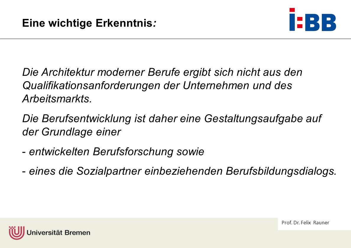 Prof. Dr. Felix Rauner Die Architektur moderner Berufe ergibt sich nicht aus den Qualifikationsanforderungen der Unternehmen und des Arbeitsmarkts. Di