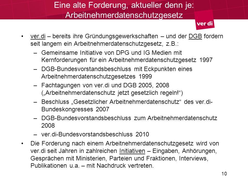 10 Eine alte Forderung, aktueller denn je: Arbeitnehmerdatenschutzgesetz ver.di – bereits ihre Gründungsgewerkschaften – und der DGB fordern seit lang