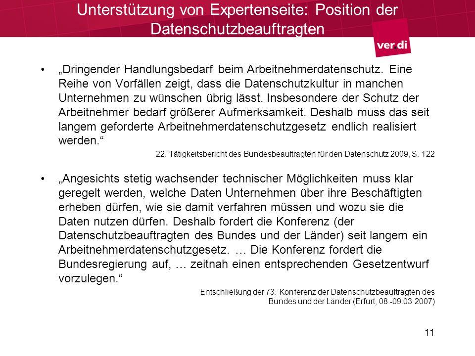 11 Unterstützung von Expertenseite: Position der Datenschutzbeauftragten Dringender Handlungsbedarf beim Arbeitnehmerdatenschutz.