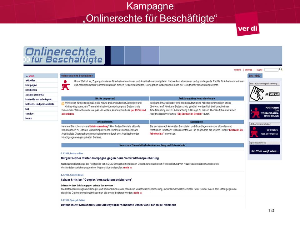 18 Kampagne Onlinerechte für Beschäftigte